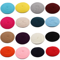 Wholesale French Beret Men - Wholesale-French Style Vintage Unisex Men Women Girls Wool Warm Plain Beret Beanie Hat Cap IN Stock Free Shipping