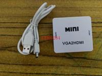 mini projetor hdmi frete grátis venda por atacado-Frete Grátis Mini 1080 p de entrada vga para hdmi conversor de saída Adaptador Para PC Portátil para HDTV Projetor VGA2HDMI adaptador com Áudio