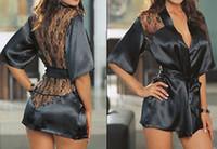 vestidos de noite íntimos venda por atacado-Atacado-Detalhes sobre o novo Sexy Lingerie Satin Lace Black Kimono íntima Sleepwear Robe Night Gown