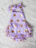 Wholesale Toddler Girls Bubble Romper - Wholesale-purple romper,gold polka dot one piece outfit,Baby Bubble Romper,Ruffle sunsuit,toddler romper,girl birthday outfit