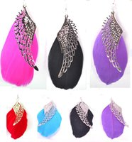 Wholesale Wholesale Feather Wings - Feather Earrings 6 Colors wholesale lots Colorful Cute Angel Wing Charm Light Dangle Eardrop free shipping