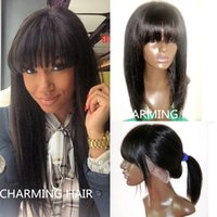 Wholesale Cheap Monofilament - Free gifts 100% unprocessed cheap 8A peruvian yaki straight full lace wig with bangs virgin peruvian human hair lace front wig with bangs