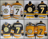 Wholesale Vintage Road - Wholesale Cheap Men's boston bruins Hockey Jerseys 7 Phil Esposito Jersey Home Black Road White Yellow CCM Vintage Stitched Jersey A Patch