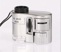 kafa bandı büyüteçleri toptan satış-Toptan Mini LED Işık Takı Büyüteç 60X Zoom Büyüteç Mikroskop