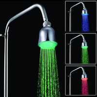 Wholesale Color Changing Overhead Shower - 4Inch RGB 3 Color-Changing Temperature Sensor LED Overhead Sprayer Shower Head Waterflow Automatic Power 360-degree Rotated Chrome Finish