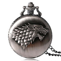 Wholesale Pocket Watch Games - Game of Thrones Strak House Wolf Pocket Watch Necklace with Chains Fashion Jewelry for Men Women Gift 230271