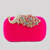 Wholesale Designer Bags Peacock - Hot Peacock Women Evening Wedding bag Designer Retro Decent and generous Clutch Chain Mini wallets Brand 5 Color Free shipping