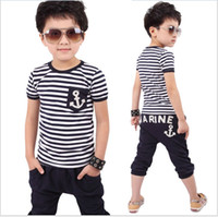 Wholesale Boys Striped Harem Pants - 2Pcs Baby Boys Clothes Set 2018 Summer Navy Style Stripe Outfit Short Sleeve T-shirt Top+Middle Harem Pants Kids Clothing Sport Suits Retail