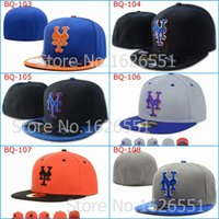 Wholesale Hat Ny Pink - Wholesale-Men's full Closed New York Mets fitted hat sport team NY 2 tone on field baseball cap