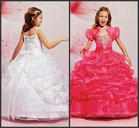 Wholesale Girls Short Jacket Designs - Ball Gown Pick Up Sweet Kids Wear Crystals Beading With Jacket Unique Design Floor Length Fashion Style Charming Design Hot Sale Pageant