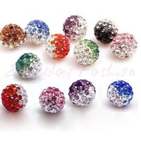 Wholesale Shamballa Clay Pave Beads - 100pcs lot Gradient Colorful 10mm Crystal Shamballa Beads Pave Clay Dico Ball for shamballa Bracelet Necklace