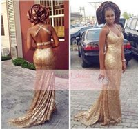 Wholesale Halter Top Glitz Dresses - 2016 Stunning Rose Gold Mermaid Prom Dress Sexy Halter Top Full Sequins Backless Bodice Glitz Long Formal Guest Party Evening Gowns BA1326