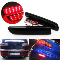 Wholesale Lancer Brake - DC 12V Automobiles Lamps Black Smoked Lens Red LED Bumper Reflector Tail Brake Light Lamp For Mitsubishi Lancer Evolution X RVR