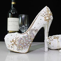 Wholesale Stilettos Shoes Cheap - 2017 Glitter Cheap Wedding Shoes Pearls Crystals Beads Pumps Shoes Gold Rhinestone Lace High Heels Bridal Shoes Free Shipping WS5