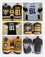 Wholesale Wholesale Name Jerseys - Wholesale Men Ice Hockey Jerseys Pittsburgh #81 Phil Kessel Black White #66 Lemieux Throwback CCM Stitched Jersey Number Name Sewn On Back