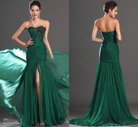 Wholesale Evening Dress Slit Design - Cheap Sexy Party Prom Dresses 2015 Sweetheart Appliques Front Slit Floor Length Green Mermaid Evening Gowns Vintage 1950S dresses new design