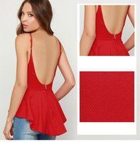 Sexy Backless Straps Camis frauen Tops Sleeveless Rot Schwarz Elegante Schwalbenschwanz frauen Tanks Schößchen Mode Plus Größe S-2XL Frauen Tees