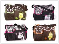 Wholesale Zebra Design Bags - 39*15*32CM Animal Design Diaper Bags Multifunctional Mummy Nappy Bag Durable Maternity Shoulder Hobos Zebra Giraffe Baby Boom