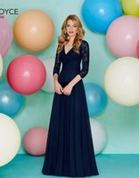 Wholesale Ronald Joyce V Neck Dress - 2016 Bridesmaid Dresses for Cheap Bridesmaids Dresses Long Floor Length Ronald Joyce 29167 Navy Chiffon Lace Prom Dresses V Neck Sash Pleats
