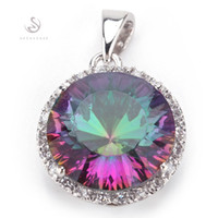 Wholesale Romantic Product - Romantic Rainbow Mystic Topaz fashion Silver Plated Pendants R736 First class products Recommend Promotion Favourite Best Sellers
