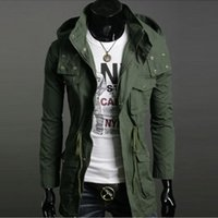 Wholesale Black Military Wool Trench Coat - Wholesale Freeshipping Mens Hooded Coat Wool Winter Jacket Mens Thicken Overcoat Long Trench Coats Slim Military Jacket