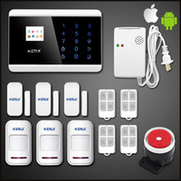 Wholesale Gsm Gas Detector - LS111- New 99 wireless zones APP Autodial GSM Touch Keyboad LCD Intruder Voice House Room Safe Secure Gas Alarm Detector Auto