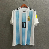 ^ _ ^ Vente en gros 2018 argentine maillot de football à domicile Top qualité football vêtements uniformes football jersey personnalisé nom messi 10