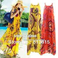 Wholesale Drop Ship Bohemian Dress - D83 Celebrity Style Women Bohemian Indian Floral Print Sleeveless Halter Chiffon Maxi Dress Beach Dress with Belt Drop Shipping