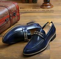 Wholesale Shoes Europe Men - 2017 New arrival blue men dress shoes men wedding shoes shiny mens Europe and America Party shoes ENPX 129