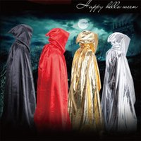 Wholesale Death Costumes - Adults Carnival Halloween Death Cloak Hoodie Cape Devil Wizard Cloak Devil Long Tippet Sorcerer Cape Anime Cosplay Clothes FreeShipping