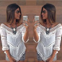Wholesale Sexy V Neck White Blouse - Hot 2016 Fashion Summer Bohemia Lace Women Blouse Half Sleeve V Neck Sexy Short Shirts Women Tops Free Shipping Beach Bikini Cover Up