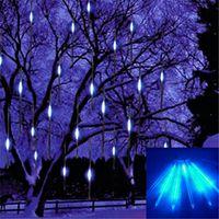 cuerdas de lluvia de meteoros al por mayor-2017 Nuevo 30 cm Meteor Shower Rain Tubes Lámpara Led de Luz 100-240V UE EE. UU. Enchufe de Navidad Luz de la secuencia de la boda Decoración de jardín de Navidad