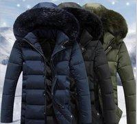 Wholesale Mens Jacket Puff - 5XL Quilted Parka Coat Mens Fashion Thick Warm Fur Collar Hooded Jacket Coat For Men Multi Pockets Wild Men Parkas J161047