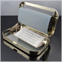 Wholesale Square Tin Boxes - Automatic Metal Cigarette Roller Box Tobacco Rolling Case Cigarette Roller Maker Tin for 110mm Papers Roll Your Own Cigarettes