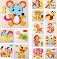 2017 Hot Kids Jigsaw Puzzle Cartoon Animals Dimensional Puzzle Force Crianças Wooden Jigsaw Puzzle Kids Education Learning Toys