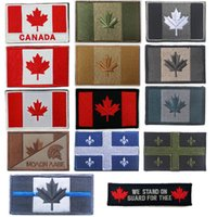 ingrosso autoadesivo foglia d'acero-Adesivi bandiera esterna Distintivi ricamati Bracciale Adesivi Foglie d'acero Patch Tactical Canada Bandiera Paese Patch NO14-012