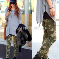 Wholesale Camouflage Trousers For Women - Fashion Women Sexy Camouflage Trouser Army Stretch Leggings Graffiti Style 2 Colors For Choose