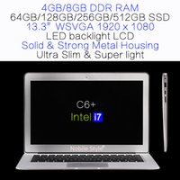 DHL-in-Stock 13.3inch IPS Intel i7 Quadcore 8gb RAM 512GB SSD disque dur portable rétro-éclairage LCD LCD Win7 / Win8 Notebook Ultra mince (C6 + i7)