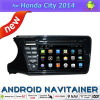 Wholesale Honda City Dvd Player Gps - Touch Screen Car DVD Players Android 4.4 for HONDA City 2014 Bluetooth RDS FM Radio Left GPS Navigation HD Video 1024*600