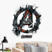 Wholesale Decorative Wall Decals Letters - Creative New Design Cartoon Wall Sticker Letter A Avengers Hero Wall Decal Home Decorative Poster Removable DIY Sticker