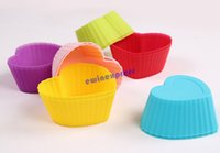 Wholesale Heart Shape Cupcake Liners - heart shape Silicone Cupcake Liner Bake Muffin Dessert Baking Cups Mold mould Case Bakeware Maker for wedding and party