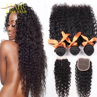Wholesale Cheap Hair Lace Closure Piece - Peruvian Virgin Hair With Lace Closure 3 Bundles Weft With Closure Beauty Afro Kinky Curly Hair Cheap 3 PC Curly Peruvian Hair Hot Selling