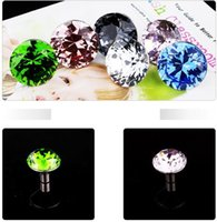 Wholesale Cabinet Knobs Crystals - 10pcs lot wholesale 30mm Diamond Shape Crystal Glass Pull Handle Cupboard Cabinet Drawer Door Furniture Knobs
