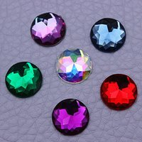 Wholesale Superior Acrylic Flat Back Rhinestones - Wholesale-Mix Color 14mm 300PCS Round Acrylic Rhinestones Superior Taiwan Acrylic crystal Flat Back Rhinestones garment accessories ZZ92