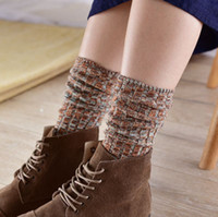 Wholesale Tall Socks For Women - 2015 free shipping socks for man women baby-- Tall piles of socks retro autumn and winter boots warm thick socks thick needle cotton socks d