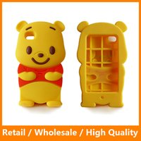 Wholesale Iphone4 Case Animal - 3D Winnie The Pooh Phone Cases Animal Silicone Cell Phone Protector Cover Shell for iPhone4 5 5s 6 6s 6Plus 6sPlus