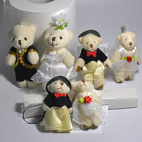 Wholesale Wholesale For Bride Stuff - Bulk 4.5cm 6cm 7.5cm 8cm Plush Wedding Teddy Bear A couple of bear Groom Bride Stuffed Animals For Wedding Decoration Toys 24pair lot
