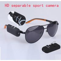 Wholesale Hd Spy Sport Glasses Camera - HD 1280*720P sport Sunglasses hidden camera spy glasses DVR DV camcorder 30fps separable mini video record Put on your glasses portable cam