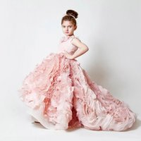 Wholesale White Chiffon Pageant Gown - 2014 Exquisite pink chiffon ruffles wedding birthday flower girls' dresses sweep train custom made applique girls' pageant gowns BO3897