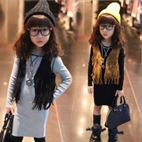 Wholesale Brown Child Cardigan - Girls Sleeveless Tops Cardigan Children Clothing Child Tank Top Kids Clothes Kid Fringe Vest Jacket 2014 Spring Summer Brown Black